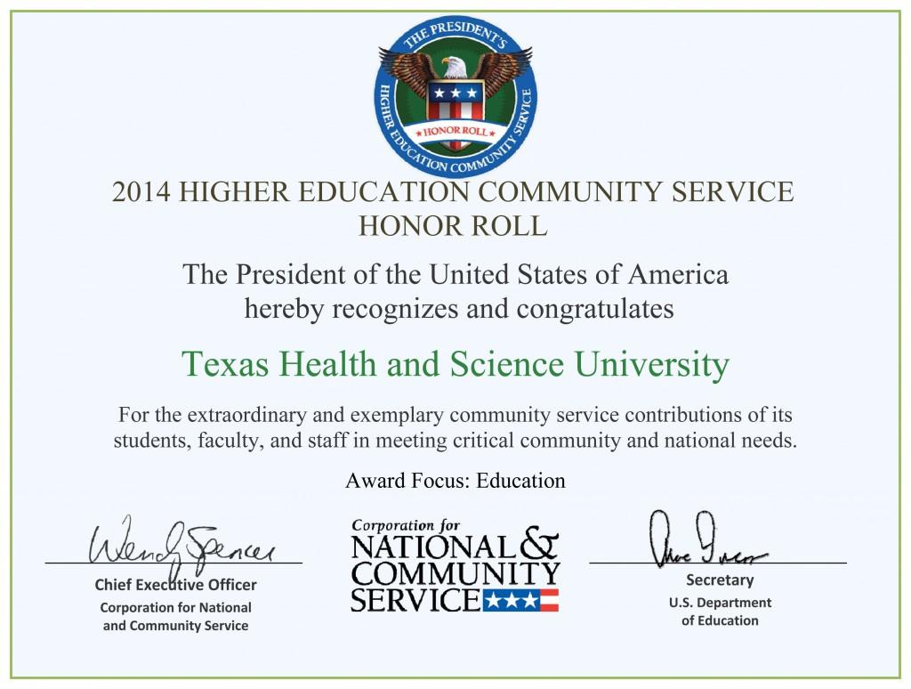 White House Honor Roll 2015 THSU Award